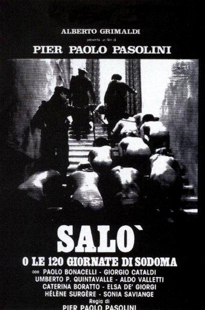 """Póster de la película erótica italiana """"Saló o los 120 días de Sodoma""""."""
