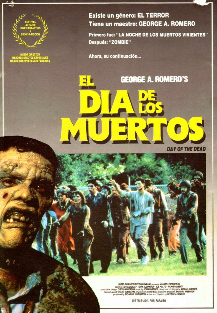 """Póster de """"El día de los muertos"""": el film con la primera de las 7 mejores escenas gore de películas de zombies."""