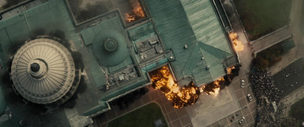"""Fotograma de """"Batman contra Supermán"""" con destrucción del Capitolio"""