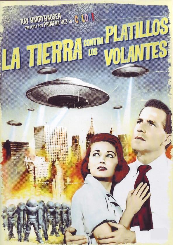 """Póster de """"La Tierra contra los platillos volantes""""."""