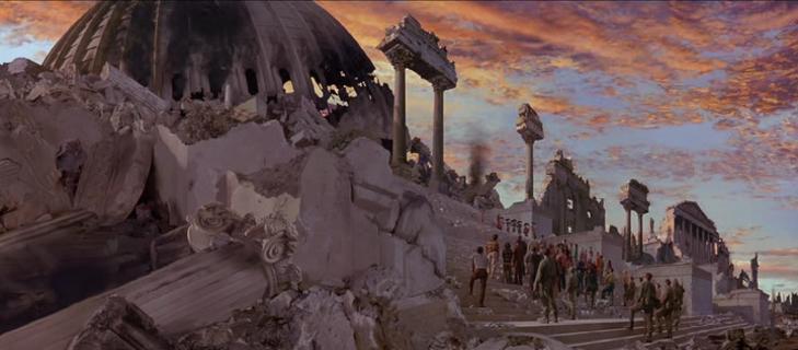 "Capitolio destruido con banda de mariachis, en ""Mars Attacks""."