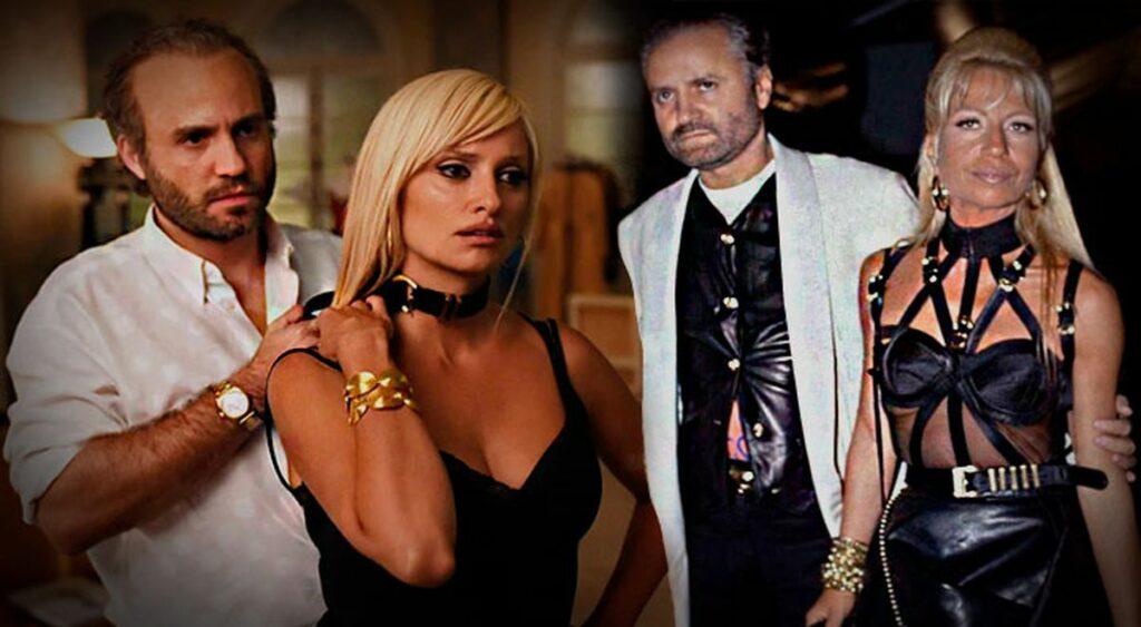 Doble foto de Edgar Ramírez con Penélope Cruz, y de Gianni Versace con Donatella Versace.