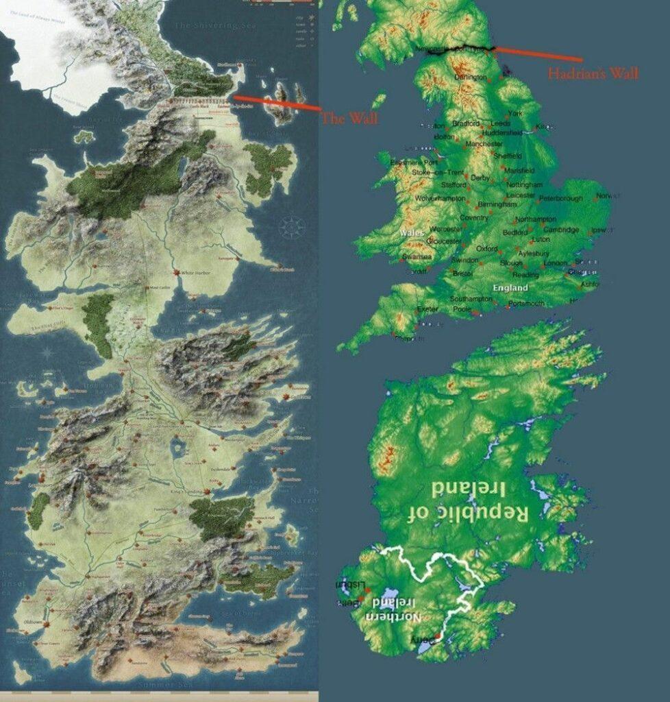 Mapa de Poniente comparado con mapa de Gran Bretaña e Irlanda (del revés).