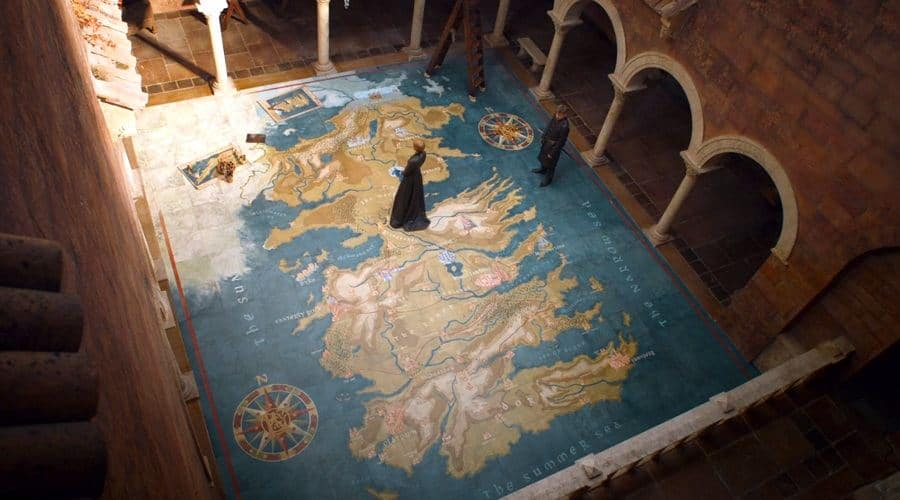 "Sala de mapas de ""Juego de tronos""."