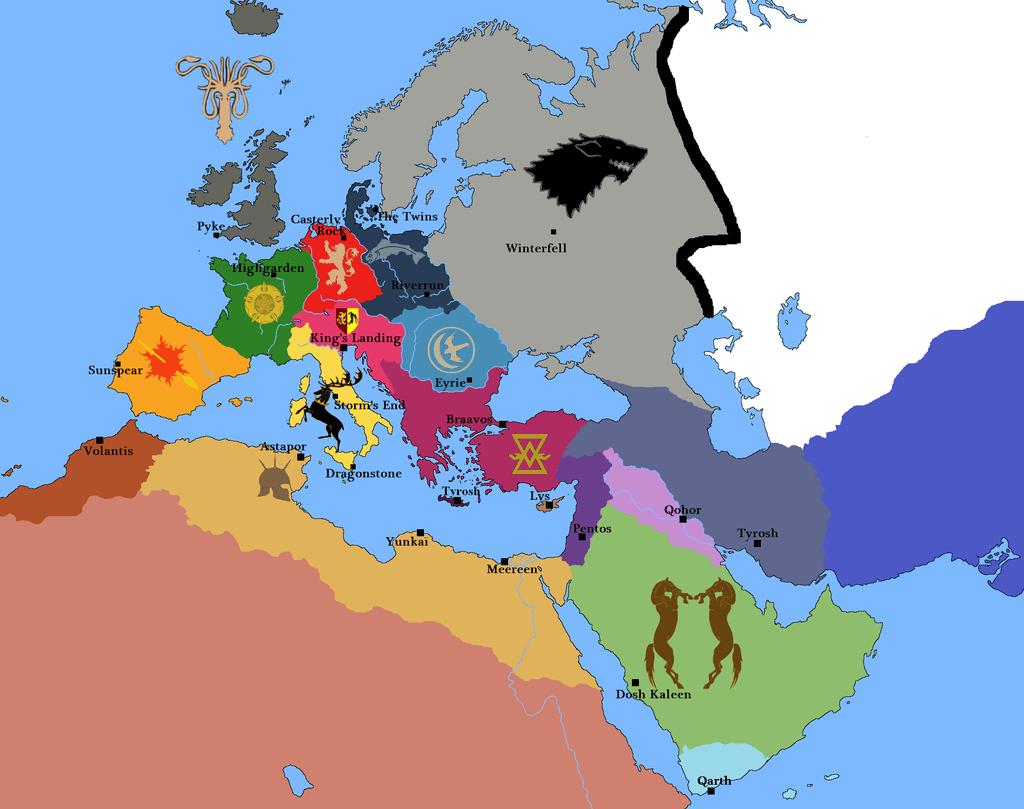 Mapa si Europa fuera Poniente de Juego de Tronos