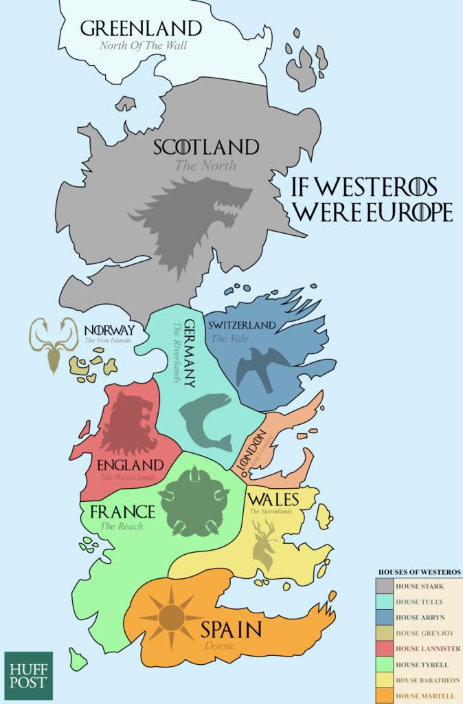 Mapa si Poniente de Juego de Tronos fuera Europa