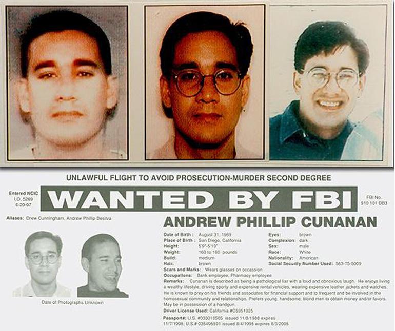 Cartel del FBI: Andrew Phillip Cunanan, buscado por el FBI.
