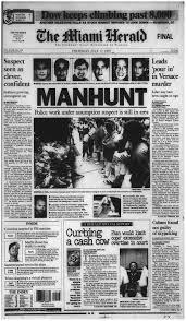 """Primera página de """"Miami Herald"""" con noticia sobre la búsqueda de Cunanan."""