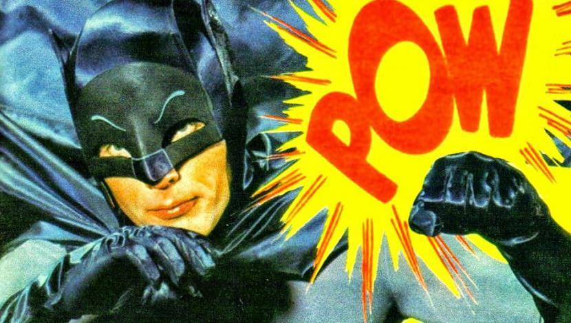 """Foto del onomatopéyico """"Batman"""" de los años 60: ejemplo icónico de series de superhéroes."""