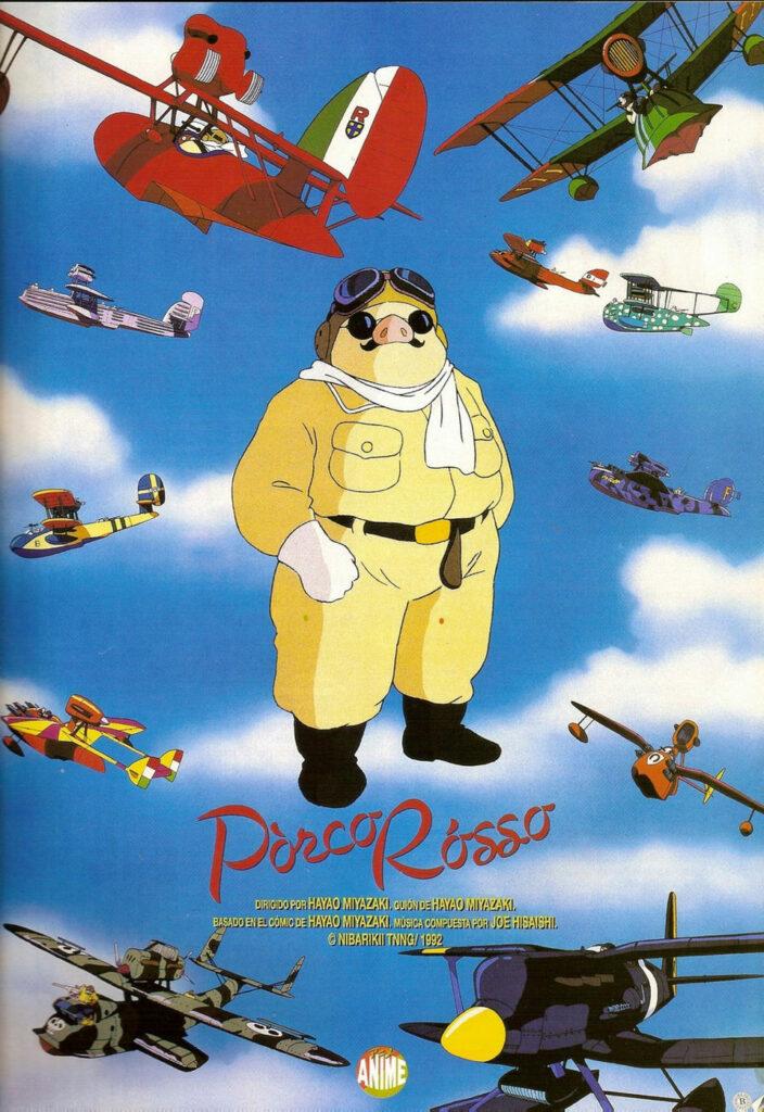 """Póster de """"Porco Rosso"""". Pelicula de dibujos animados que no son de disney"""
