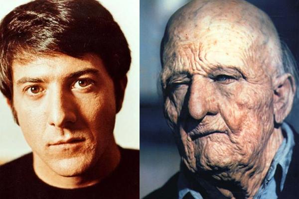 """Dustin Hoffman, antes y después del maquillaje para """"Pequeño gran hombre""""."""