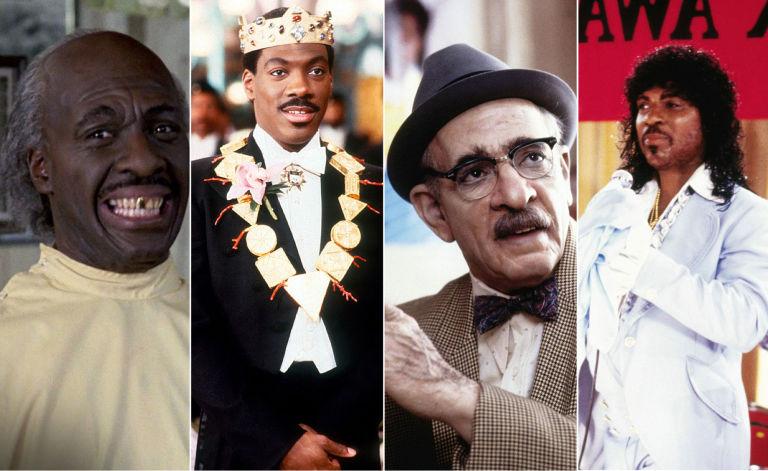 """Los 4 papeles distintos de Eddie Murphy en """"El príncipe de Zamunda""""."""