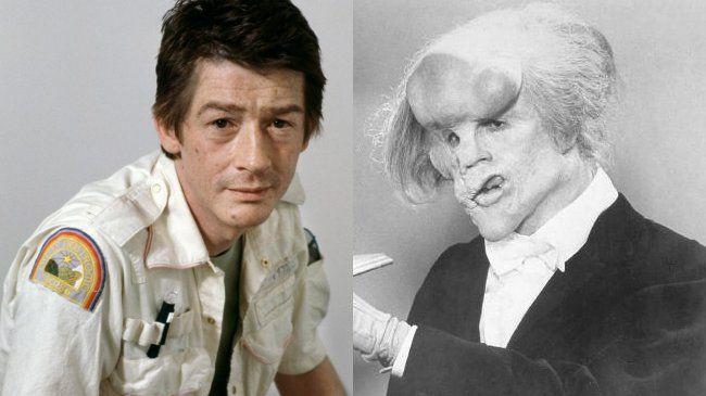 """John Hurt, antes y después del maquillaje para """"El hombre elefante""""."""