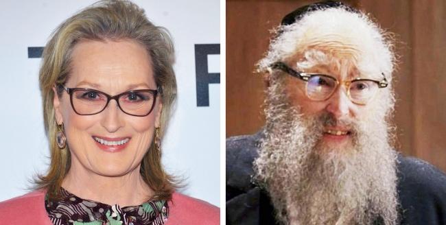 """Meryl Streep, antes y después del maquillaje en """"Angels In America""""."""