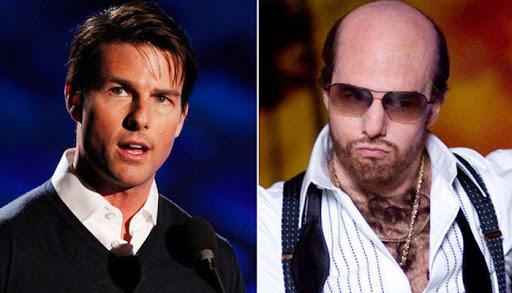 """Tom Cruise, antes y después del maquillaje de """"Tropic Thunder""""."""