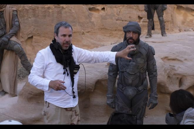 "Dennis Villeneuve en el rodaje de ""Dune"" (2021)."