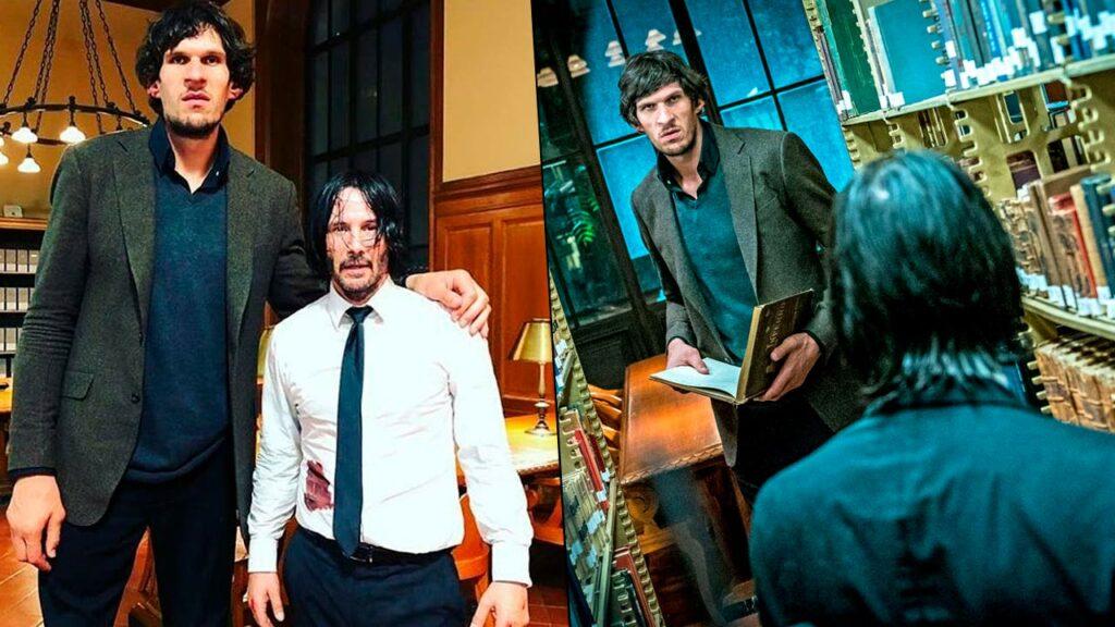 "Boban Marjanovic y Keanu Reeves en ""John Wick 3""."