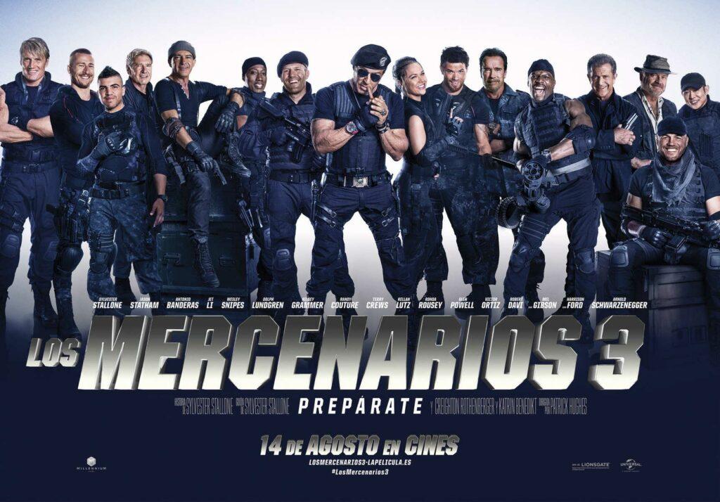 """Póster de """"Los mercenarios 3"""": apaisado porque si no, no caben todos."""
