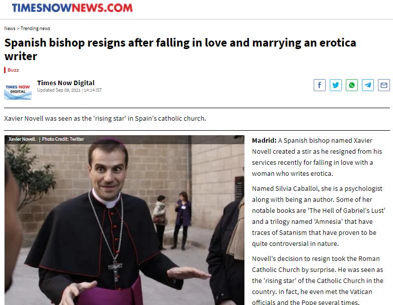 La prensa anglosajona hablando sobre el obispo de Solsona.